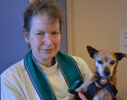 Rev Barbara Allen with her elderly rescue dog, Rosa